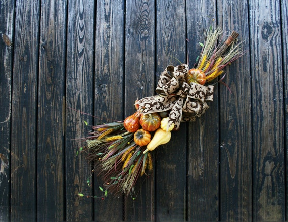 Thanksgiving Wreath Alternative, Cinnamon Broom with Pumpkins