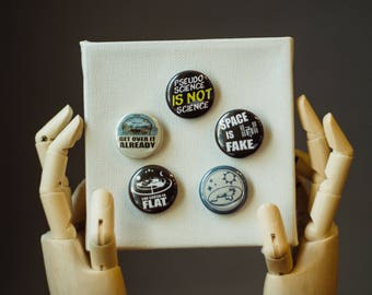Flat Earth | Buttons | Pins | Punk Button | Punk Pin | Pinback Pin | NASA Button | Space Pin | Space Button | NASA Pin | Button Pack | Space