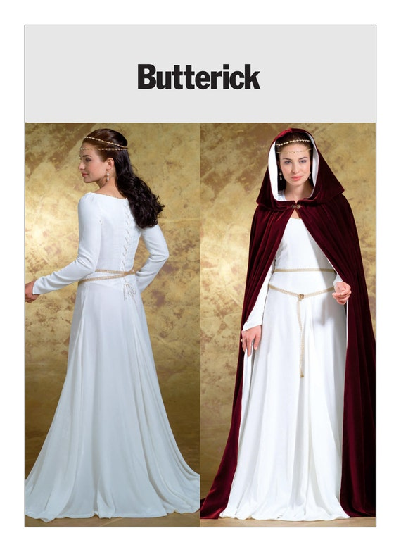 Sewing Pattern Medieval Floor-Length Cape & Princess Seam Dress ...