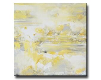 GICLEE PRINT Art Abstract Yellow Grey Oil Painting Large Acrylic Painting Home Decor Wall Art Canvas Print Modern Art - Christine Krainock