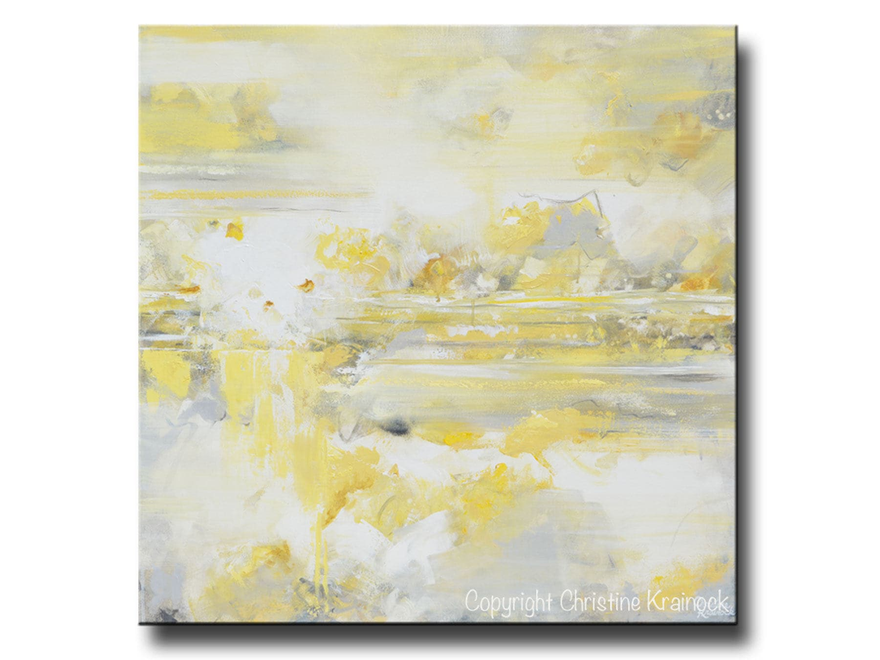 GICLEE PRINT Art Abstract Yellow Grey Oil Painting Large