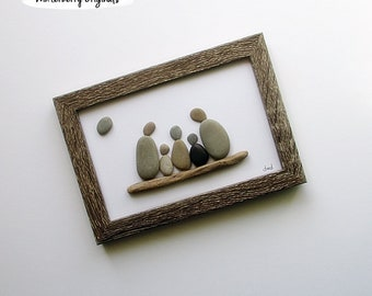 "Pebble Art: Family of 5 - 5"" x 7"" Slim Rustic Frame -- modern art, original wall art, small space wall art, family gift, beach art, rock art"