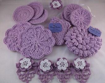 spa set,lilac spa set, bath set, Mothers day gift set scrubbies, washcloth, soap saver, bath pouf, gift set, bath gift set