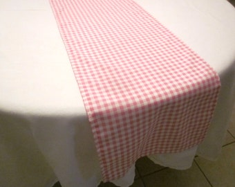 Pink and White Gingham Table Runner, Western Party ,Wedding Table, Bridal Shower, Baby Shower, Cowgirl Party, Shabby Chic BirthdayParty