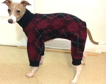 Dog Pajamas. Argyle Jumper. Italian Greyhound Pajamas. Pajamas for small dogs. Dog Clothes. Dog Apparel. Italian Greyhound Clothes
