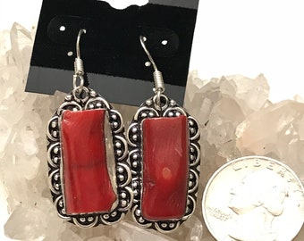 CLEARANCE *Chunky Red Branch Coral Earrings
