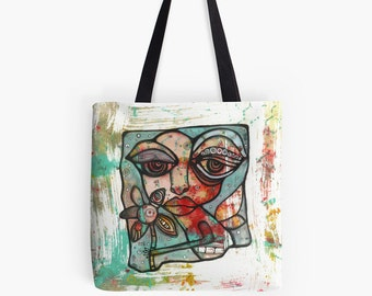 "Tote Bag Beach Bag Original art bag ""Mine"" boho accessories art bags tote bags abstract bags grocery bags gym bag colorful tote artist bag"