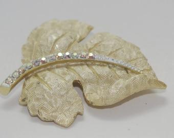 Vintage Brooch: Sassafras Leaf  Burnished Gold & Aurora Borealis Rhinestone Pin 1950s
