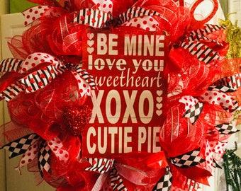 Cutie Pie Valentines wreath  Front door decor Valentines day wreath Red with white stripe mesh,4 different Valentine's ribbons. Wooden Sign,