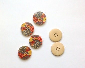 Wood Flower Buttons, Painted Wood Buttons, Round Wooden Buttons, Painted Buttons - set of 6