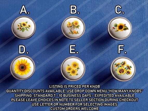 Sunflower Kitchen Knobs / Custom Kitchen Knobs / Cute Cabinet Knobs/ Custom  Sunflowers Cabinet Pulls / Kitchen Sunflower Buttons