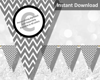 Gray Chevron Bunting Pennant Banner Instant Download, Party Decorations