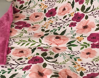 Floral Baby Blanket in Pink and Magenta Blooms