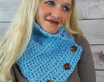 Teal Button Cowl Scarf, Boston Harbor Scarf, Crochet Neck Warmer, Knit Scarf - Soft Teal with Coconut Buttons - Fast Shipping!