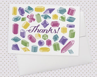 Thanks Gem   Greeting Card, thank you, thank you card, thank you card set, thanks card, gemstones card, crystal card, pretty card for her