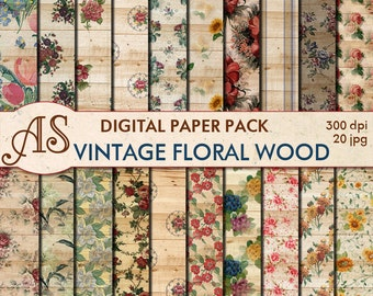 Digital Vintage Floral Wood Paper Pack, 20 printable Digital Scrapbooking papers, Wooden Collage, Decoupage papers, Instant Download, set111
