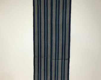Vintage Japanese Indigo Stripe Cotton Boro Patched Futon Cover Textile, fabric-2088