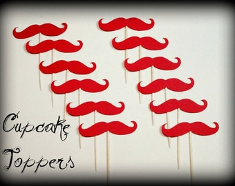 12 Mustache Cupcake Toppers-Mustache on a Stick-Little Man Party-Little Man-Mustache Party-party props-cupcake toppersThe Handlebar