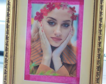 Embroidered floral crown on photographic print. Unique framed embroidery art