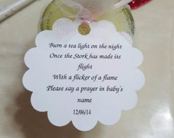 Personalized Favor Tags 2'', Thank You tags, Favor tags, Gift tags, baby poem, candle, tea light baby shower poem