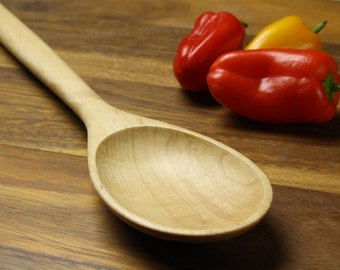 Big Manly wooden spoon kitchen utensil of  Sugar Maple wood.  Heavy duty stirring spoon , chef's spoon , gourmet cooking utensil