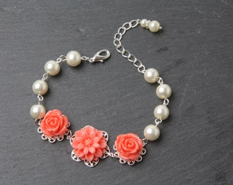 Coral bridesmaid bracelet, coral flower bracelet, coral wedding jewelry, coral rose and pearl bracelet, wedding bracelet, bridesmaid gift