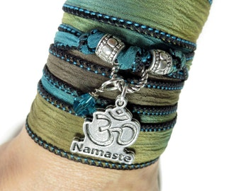 Namaste Silk Wrap Bracelet OM Yoga Jewelry Breathe Spiritual Wrist Band Ohm Bohemian Zen Unique Birthday Gift Christmas Stocking Stuffer