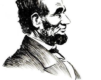 Abraham Lincoln portrait original ink sketch