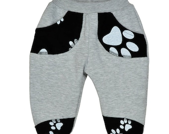 Pants, trousers, cotton, gray, dog's paws, sizes 6 months - 5 years, for a girl, for a boy,