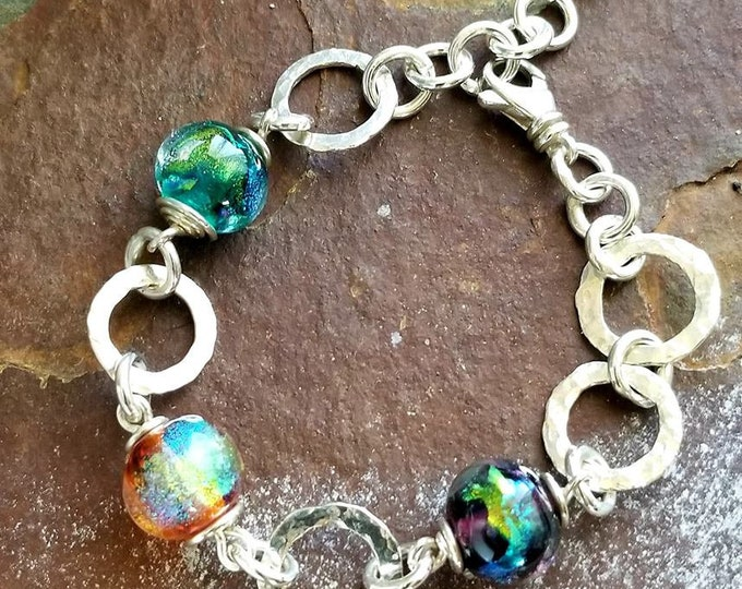 Ashes in Glass Memorial Link Beaded Buddy Bracelet in Sterling Silver, Pet Memorials, Cremation Jewelry