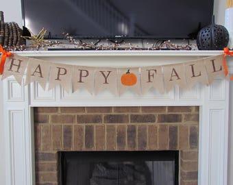 Happy Fall Burlap Banner - Customize Center Pennant,Fall Decor,Fall Garland,Fall Decorations,Thanksgiving Decorations,Rustic Fall Decor
