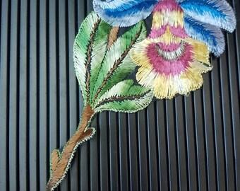 Vintage 1930s Turmac CA silk applique  art nouveau  Flower Patch large