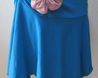 Turquoise color mini skirt or tube dress with gathered design and rose decoration in front plus made in USA (vn23)