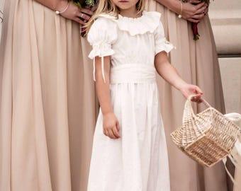 Flower Girl Size 6months to 14 Vintage Inpired Wedding,  Communion Baptism Beach   Silk Sash and Embellished Ivory Dress