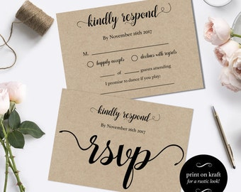 Wedding RSVP postcards templates -  rsvp cards wedding - diy wedding rsvp postcard template - Instant download wedding  #WDH101_8