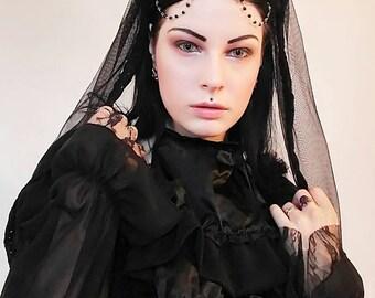 Gothic headpiece/kokoshnik/lolita headdress/lolita headpiece/wgt/gothic/moon dool/gothic crown/dark queen/headpiece/gothic wedding