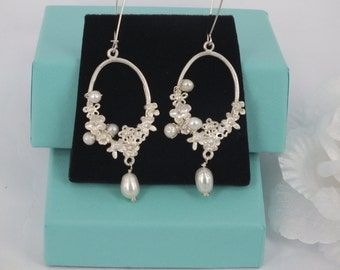 Freshwater Pearl and Matte Silver Filigree Earrings