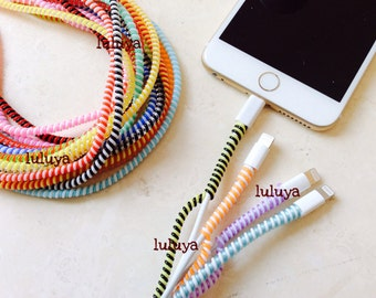 Set of (12)  Spiral Wrap Around Cord Protectors for Iphone Samsung Cellphone Tablet Charger Cable Earphone Cords