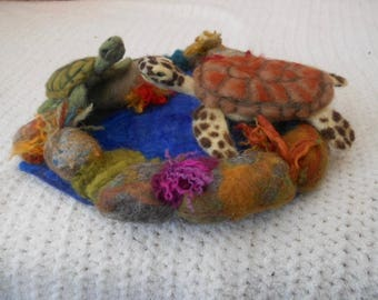 Felted sea turtles, sea turtles in pool, rock pool sea turtles, waldorf, play mat, needle felted turtles, play school, nature table