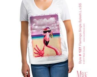 Revel4Ever!™ Women's Short Sleeve Flamingo Single Splash T-Shirt