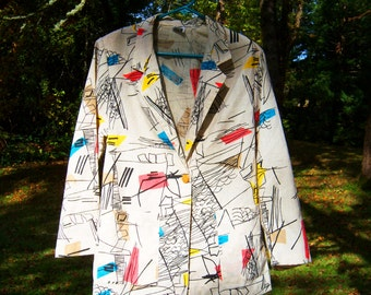 1980's Colorful Abstract Picasso Drawing Blazer Jacket 1950's 1960's