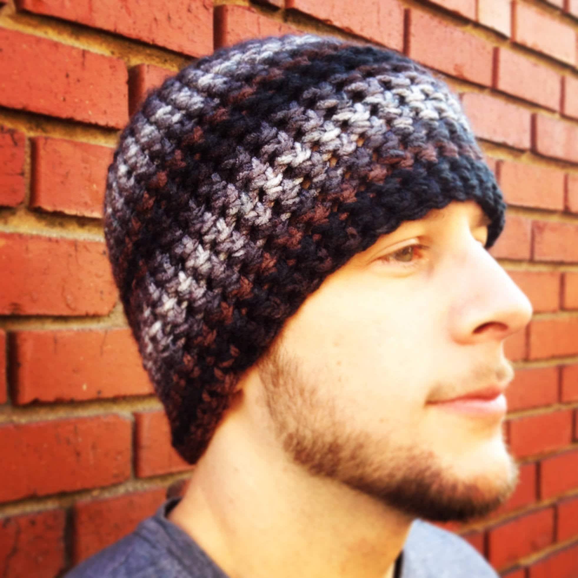 One Hour Striped Mens Beanie Crochet Pattern- Bulky Mens Beanie Hat ...