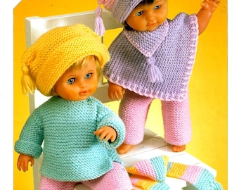 SIRDAR 3123 Doll Outfit Vintage Knitting Pattern PDF Instant Download