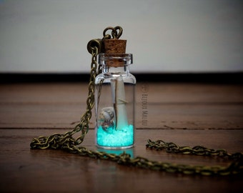 Glow in the Dark Message in a Bottle Necklace Real Shell Necklace Terrarium Jewellery Glowing Jewellery Nautical Necklace Gift for her Sand