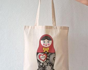 Matryoshka doll tote bag-matryoshka tote bag-babushka doll tote-Matryoshka Nesting Dolls tote-school bag-Russian doll-NATURA PICTA NPTB042