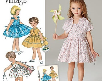GIRLS DRESS PATTERN / 50s Vintage Style Sundress and Bolero / Summer Clothes in Sizes 3 to 8