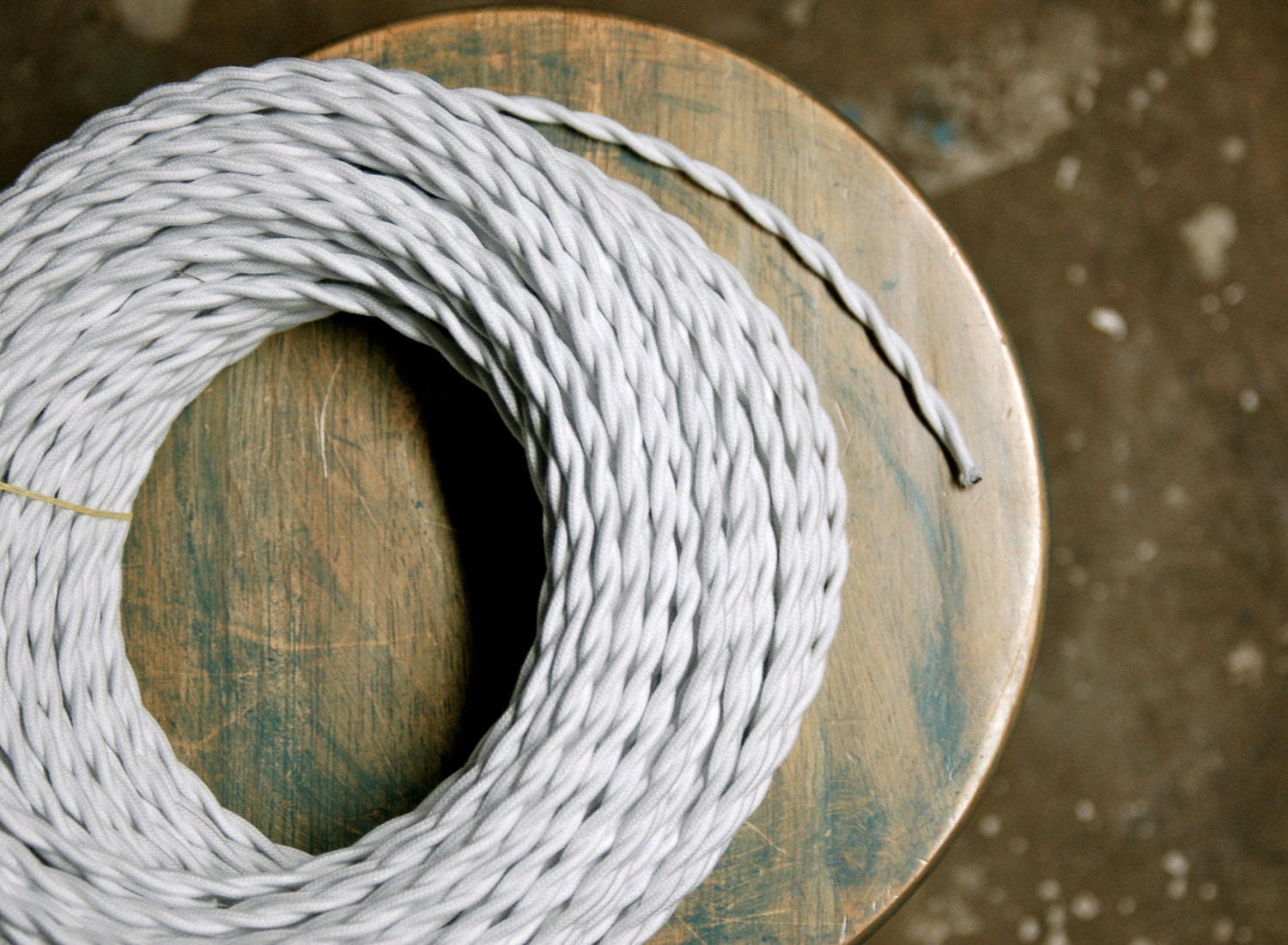 6 Feet: White Cotton Twisted Cloth Covered Wire Vintage Style