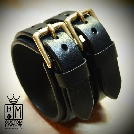 """2-1/8"""" wide black bridle leather double strap cuff, Brass hardware"""