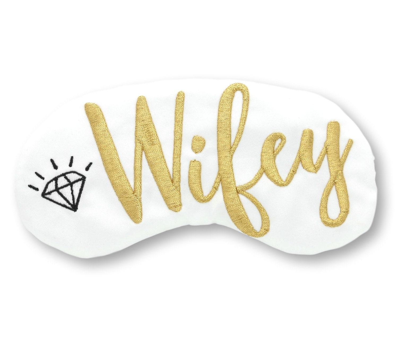 Wifey Sleep Mask with Diamond Bride Bridal Shower Gift White