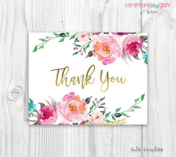 Floral thank you cards baby shower floral thank you card altavistaventures Choice Image